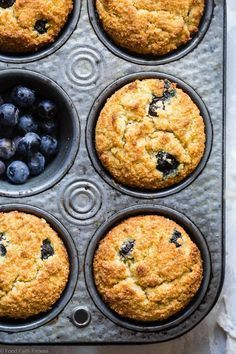 The BEST Low Carb Sugar Free Keto Blueberry Muffins - SO moist and tender, you'll never believe they are gluten/grain/dairy/sugar free and keto friendly! Perfect for breakfast or snacks for kids OR adults! | #Foodfaithfitness | #Lowcarb #Healthy #Glutenfree #Keto #Sugarfree