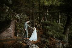 Forest wedding | Bride and groom walking in Devil's Lake State Park on their wedding day| Wisconsin Outdoor Wedding | Mark Trela Photography