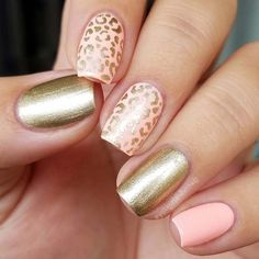Easy Nail Art Designs - Gold Leopard Print - Step By Step, Simple Tutorials For Beginners For Summer, Fall, Spring, and Winter. Ideas For Nailart For Kids, For Toes, DIY, And Classy Ring Finger Ideas With Glitter. Also Some Great Ideas For Flowers, Paint, Stripes, And Black Nails - https://thegoddess.com/easy-nail-art-design