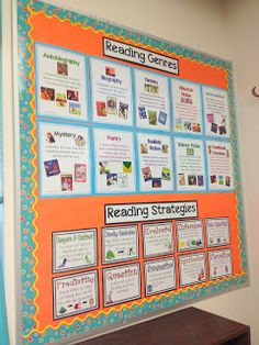 The Life and Times of Kimberly Moore: Bulletin Boards. Reading genres & reading strategies on one bulletin board. Reading Genres, Reading Test, Third Grade Reading, Reading Intervention, Reading Lessons, Reading Skills, Teaching Reading, Reading Recovery, Library Skills
