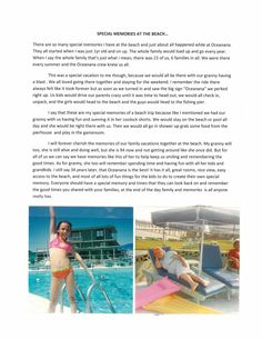 2014 Beach Memories Contest finalist Jennifer Hewell shared a special memory with us. #Oceanana