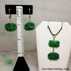 Green jade earrings and pendant gold filled setting. Jade Pendant, Pendant Set, Jade Earrings, Dangle Earrings, Jade Green, Lavender, Crafts, Color, Jewelry