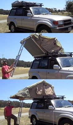 SUV Luggage Rack Tent for camping, hunting, or fishing trip Motorcycle Camping, Truck Camping, Family Camping, Camping Gear, Camping Hacks, Outdoor Camping, Camping Storage, Camping Glamping, Top Tents