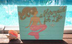 Handmade Mermaid For Life Beach Pallet Art Coastal Decor Mermaid Art