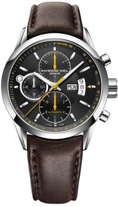 Freelancer Mens Watch - Freelancer Automatic chronograph Steel on leather strap black dial RAYMOND WEIL Genève Luxury Watches Amazing Watches, Beautiful Watches, Cool Watches, Watches For Men, Black Watches, Stylish Watches, Luxury Watches, Brown Leather Watch, Men's Leather