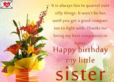 Best Happy Birthday Wishes Message to My Sister with Images http://www.wishesmessagez.com/2017/03/best-happy-birthday-wishes-message-to-my-sister.html