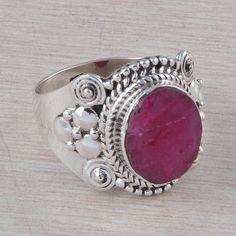 RUBY RING 925 SOLID STERLING SILVER DESIGNER FANCY JEWELLERY 4.35g R01593 #Handmade #GEMSTONERING