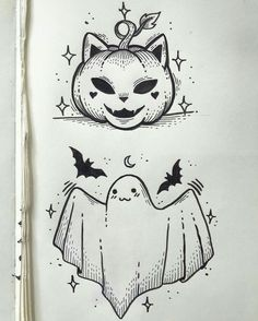 halloween tattoos Credit to Sailormisaki Body Art Tattoos, Sleeve Tattoos, Tatoos, Cute Drawings, Drawing Sketches, Tattoo Drawings, Halloween Doodle, Cute Halloween Drawings, Cute Halloween Tattoos