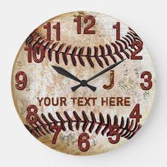 Vintage Baseball Room, Baseball Bedroom Decor, Senior Night Gifts, Wall Clock Online, Man Cave Gifts, Wall Clock Design, Look Vintage, Wall Clocks, Clock Decor