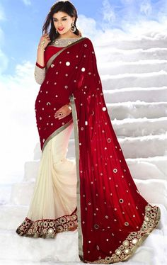 Picture of Elegant Maroon and Off White Color Saree