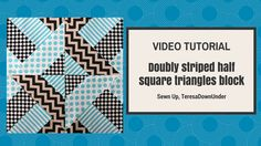 Doubly striped Half Square Triangles (HST) quilting block (Hidden Wells)