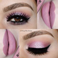 """"""" Pannnk using @toofaced Chocolate Bon Bons palette So Fetch, Cotton candy also used Almond truffle & Satin sheets @tartecosmetics Tartiest liner…"""""""