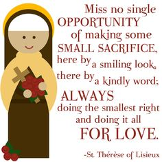 """Print - """"St. Therese of Lisieux"""" Quote. $18.00, via Etsy."""