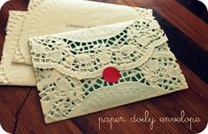 20 Unbelievable Dollar Store Crafts - Little Red WindowLittle Red Window. Paper doily envelopes.