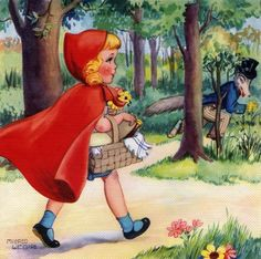 Vintage illustration from the fairy tale Little Red Riding Hood, depicting Riding Hood walking in the woods with her basket; screen print, circa Get premium, high resolution news photos at Getty Images Red Riding Hood Story, Pirate Art, Big Bad Wolf, Illustrations And Posters, Children's Book Illustration, Halloween Costumes For Kids, Little Red, Vintage Art, Fairy Tales