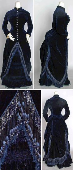 Navy velvet bustle dress, ca. 1882. Two-piece deep navy blue, mother of pearl buttons, skirt with jet bead fringe and ostrich feather trim. Augusta Auctions