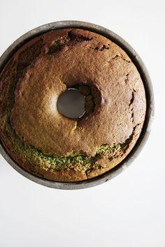matcha green tea bundt cake with coconut frosting