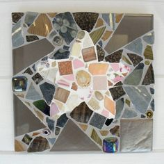 Two grout colors - Starfish picture mosaic wall art in pinks and by michelewebber, £45.00