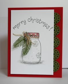Snowflakes in a jar--how cute. Happy Stamping Designs: Holiday Cards and More vol. 7.