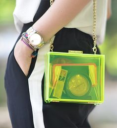 Juicy Couture neon transparent clutch