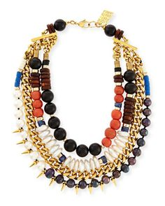 Statement Necklace   Three Bathers Beaded Statement Necklace by Lizzie Fortunato at Neiman Marcus.
