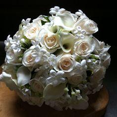 Vandella roses , white mini calla, white bouvardia and stephanotis Bouquet by www.beesweddingdesigns.com