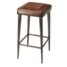 Bring comfortable seating to your urban home with the Butler Specialty Maxine Leather Bar Stool . It features and artistic mix of metal and soft leather. Bar Furniture, Shabby Chic Furniture, Modern Furniture, Office Furniture, Cool Bar Stools, Counter Bar Stools, Brown Leather Bar Stools, Dining Room Bar, Diy Chair