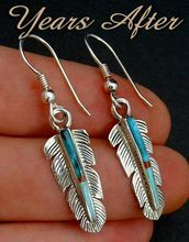 Vintage Sterling Silver NATIVE American Earrings Mosaic Inlay TURQUOISE Spiny Oyster Shell c.1980's!