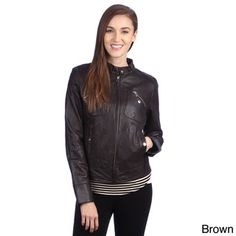 United Face Womens Lambskin Leather Moto Jacket - Overstock™ Shopping - Top Rated Jackets