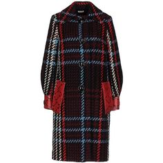 Miu Miu Coat ($2,305) ❤ liked on Polyvore featuring outerwear, coats, red, red coat, single-breasted trench coats, animal coat, tartan coats and long sleeve coat