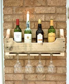 Rustic Wooden Wine Rack - Natural