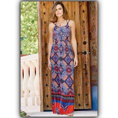 Printed Beaded Maxi Dress Printed maxi with bead detail on straps. Elastic at waist. Material (rayon) NWOTS Dresses