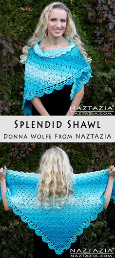 Crochet Splendid Shawl - Free Pattern & DIY Tutorial YouTube Video by Donna Wolfe from Naztazia