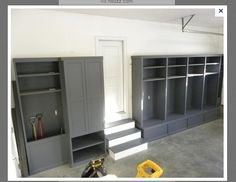 garage storage idea.  I like this and like the uniform gray color, but it would cover the pretty brick wall in our garage....