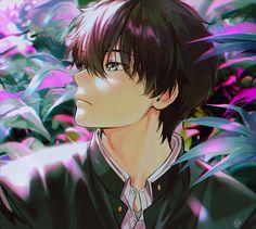 Sauce: pixiv by mery Manga Art, Manga Anime, Anime Art, Cool Anime Guys, All Anime, Anime Boys, Amagi Brilliant Park, Hyouka, Battle Angel Alita