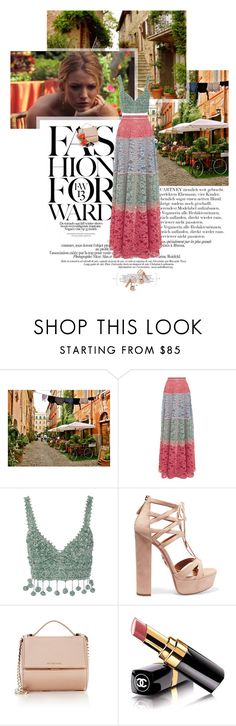 """""""Untitled 3786..."""" by thplacebo ❤ liked on Polyvore featuring Laundry, STELLA McCARTNEY, Alexis, Rosie Assoulin, Aquazzura, Givenchy and Chanel"""