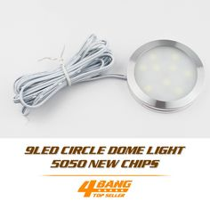 349.99$  Watch now - http://aliayd.worldwells.pw/go.php?t=32689060141 - 50pcs DC 12V Cold White LED Cabinet Light 9 Led SMD5050 Puck Plinth Lamp Dome Light Lamp Bulb Spotlight+Connect Wire+Adapter