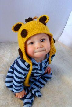 Giraffe Ear Flap Hat Crochet Pattern PDF 270 by SandysCapeCodOrig, $4.25