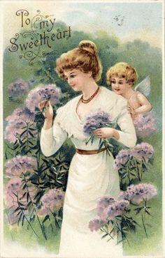 UDB Fairy Cupid Peek Over Lilac Lady Shoulder Valentine Emb Vtg Antique Postcard