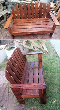 This image will make you show out with the brilliant creation of the wood pallet garden bench with the modish designing inside it. Hence the whole furniture coverage setting has been put together in this wood pallet structuring. Try it now! #GardenBench