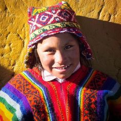The wonderful clothing in Peru full of bright colours and patterns. This is of a local in one of the small suburbs of Cuzco. Cusco Peru, Peruvian Recipes, Bright Colours, Peruvian Hair, South America, Winter Hats, Patterns, Clothing, Photography