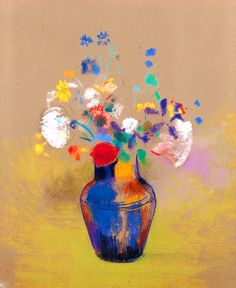 'Odilon Redon Flowers in a Blue Vase Still Life Art' Poster by Art Floral, Odilon Redon, Still Life Flowers, Kunst Poster, Still Life Art, Gustav Klimt, Oeuvre D'art, Painting Inspiration, My Drawings