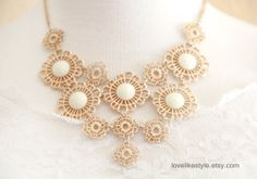 Matte & Light Gold Metal Lace with Ivory Stone by lovelikestyle, $26.00