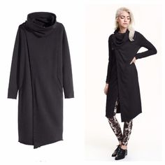 h&m long black cardigan sweatshirt thinking of selling. NWT. hard to describe. long jacket style cardigan made out of sweatshirt material. reminds me of Rick Owens. like it a lot just had it for a while and don't wear. it was really popular and sold out quickly on H&M. not sure I want to part w it so pls make an offer! snap shawl collar can b worn multiple ways. H&M Sweaters Cardigans