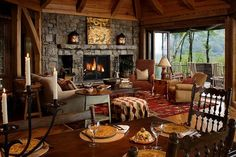 Traditional Living Room Cabin Fireplace Design, Pictures, Remodel, Decor and Ideas