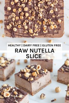 This delicious no-bake raw nutella slice is made with my version of the super popular choc nutty spread but with way less sweetener (non-refined too). Raw Vegan Desserts, Vegan Dessert Recipes, Vegan Cake, Raw Food Recipes, Dutch Recipes, Nutella Recipes, Healthy Sweet Treats, Vegan Treats, Healthy Sweets