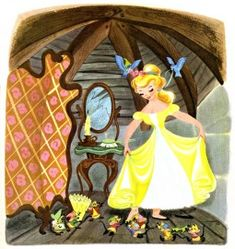 Illustration by Retta Scott (American, 1916-1990) for the 1950 Big Golden Book edition of Disney's 'Cinderella'. I'd forgotten how much I loved this yellow dress.