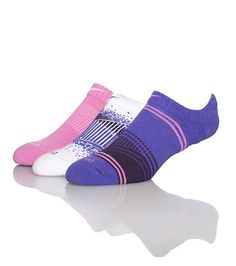 NIKE 3 Pack women's socks Dri Fit tech Stretch fabric for comfort Toe cushioning Abstract stripes print Purple, Pink, White