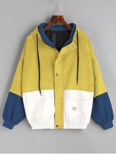 Hooded Color Block Corduroy Jacket - YELLOW M