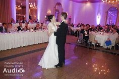 A happy couple shares a romantic First Dance at Meridian Banquets. #ChicagoWeddingDJ http://www.discjockey.org